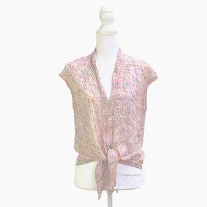 DKNY 100% Silk Sleeveless Pink Bow Blouse | 12